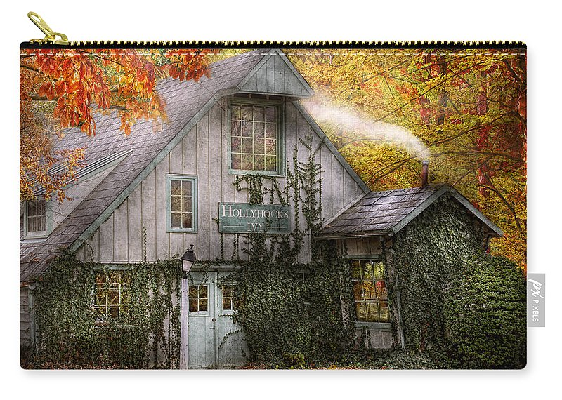 Autumn Carry-all Pouch featuring the photograph Store - Hollyhocks And Ivy by Mike Savad