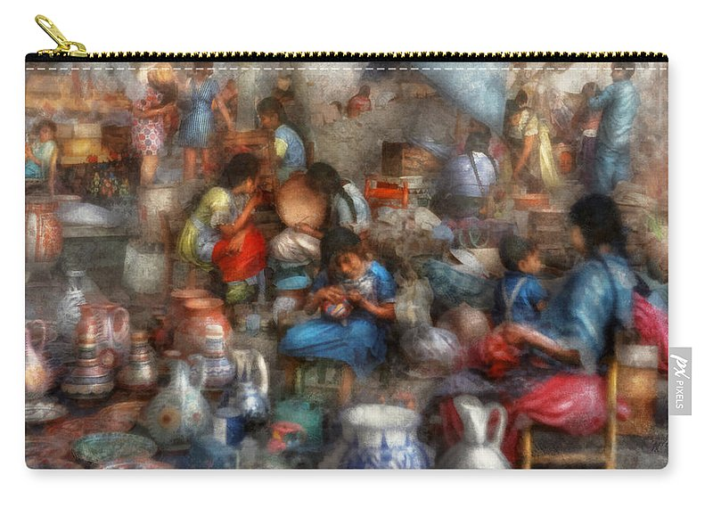 Market Carry-all Pouch featuring the photograph Store - The Busy Marketpalce by Mike Savad