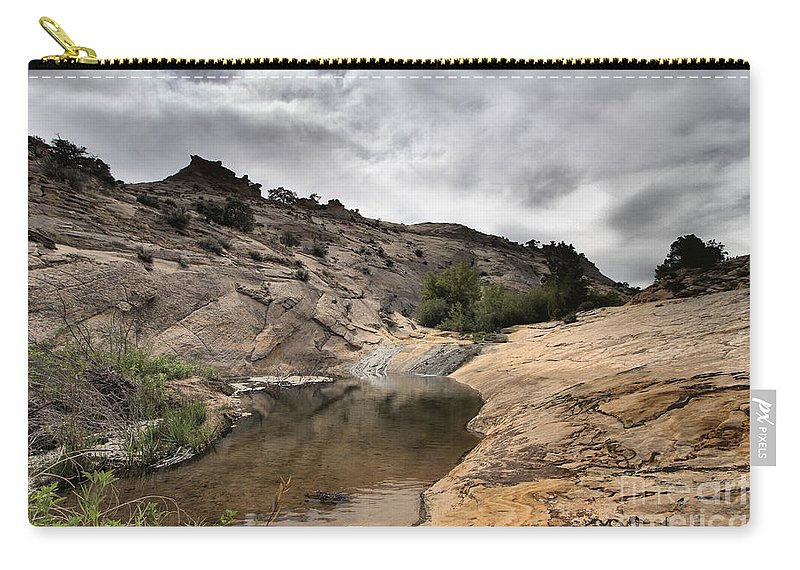 Upper Calf Creek Carry-all Pouch featuring the photograph Storm On The Horizon by Adam Jewell