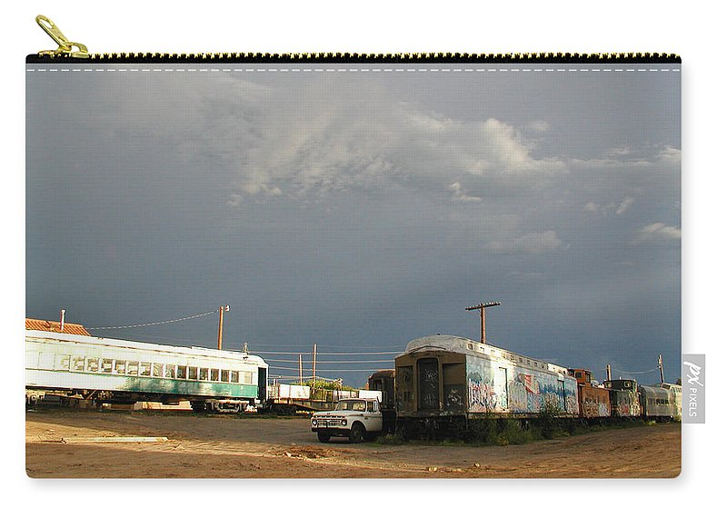 Train Carry-all Pouch featuring the photograph Storm Sky Over The Old Railyard by Kathleen Grace