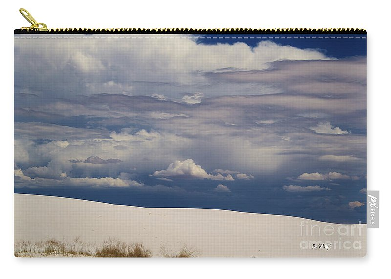 Roena King Carry-all Pouch featuring the photograph Storm's Contrast With White Sand by Roena King
