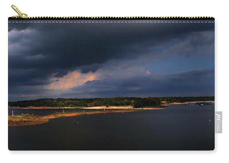 Sardis Lake Carry-all Pouch featuring the photograph Storms Over Sardis by Joshua House