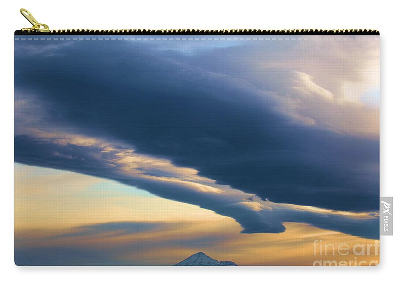 Mt Shasta Carry-all Pouch featuring the photograph Storms Over Shasta by Adam Jewell