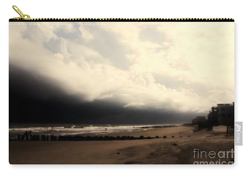 Folly Beach Carry-all Pouch featuring the photograph Stormy Beach At The Coast Of South Carolina by Susanne Van Hulst