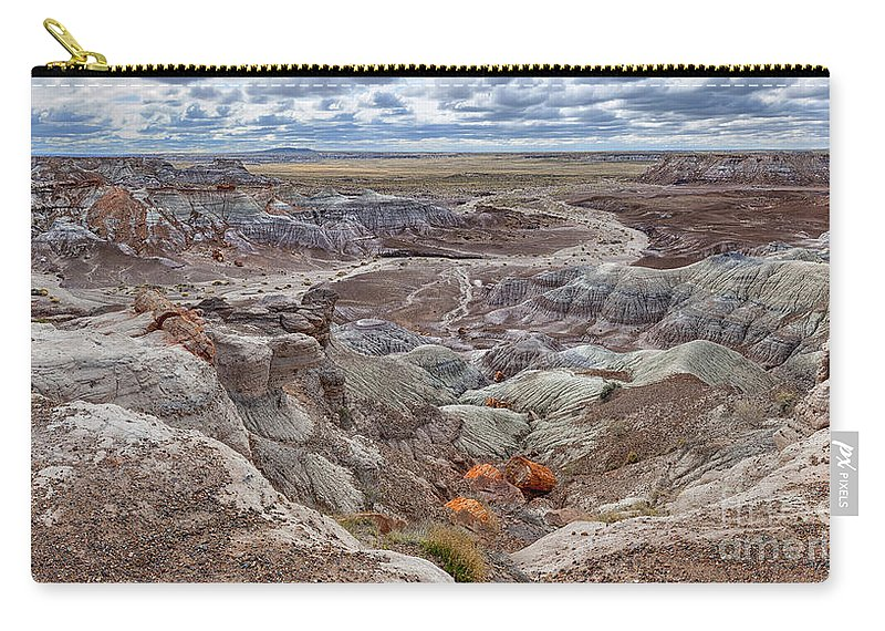 Southwest Carry-all Pouch featuring the photograph Stormy Morning At Petrified Forest by Sandra Bronstein