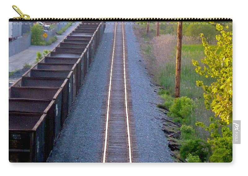 Railroad Carry-all Pouch featuring the photograph Straight Line by Mark Dodd