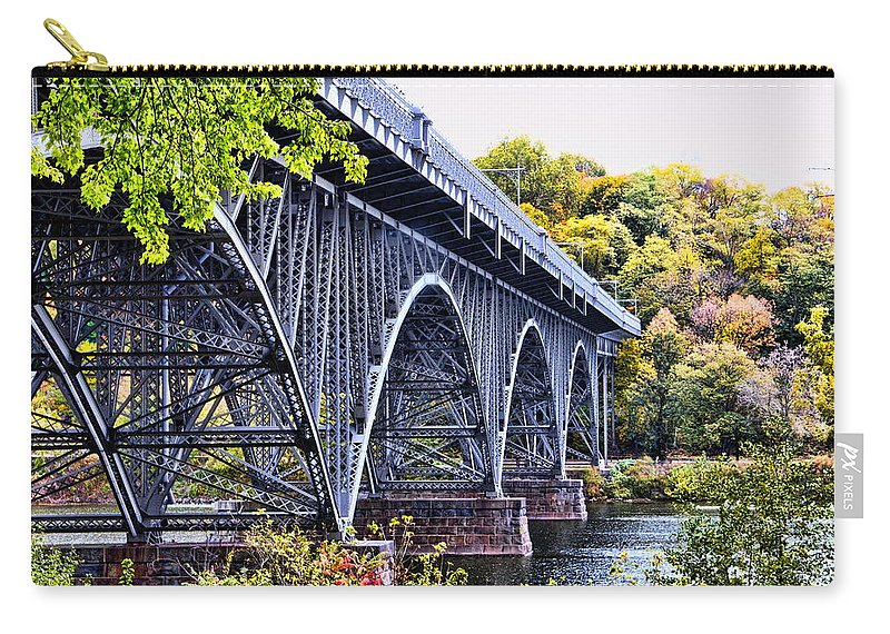 Strawberry Mansion Bridge Fall Philadelphia Pennsylvania Scenic Schulykill River West Drive Carry-all Pouch featuring the photograph Strawberry Mansion Bridge Fall View by Alice Gipson