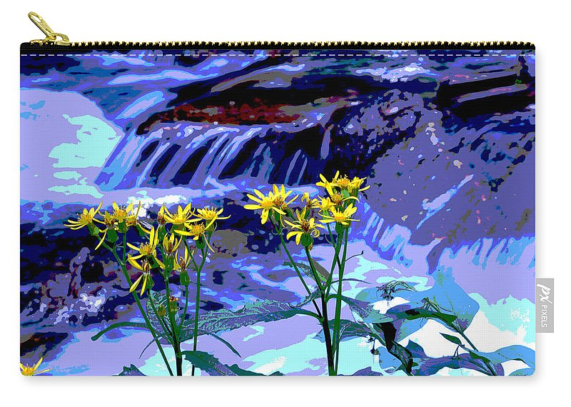 Outdoors Carry-all Pouch featuring the photograph Stream And Flowers by Zawhaus Photography