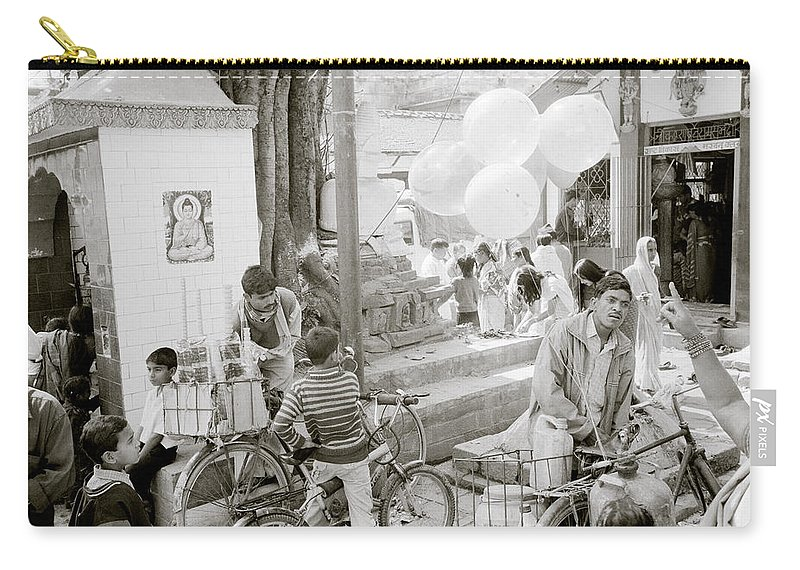 Nepali Carry-all Pouch featuring the photograph Street Life In Kathmandu by Shaun Higson