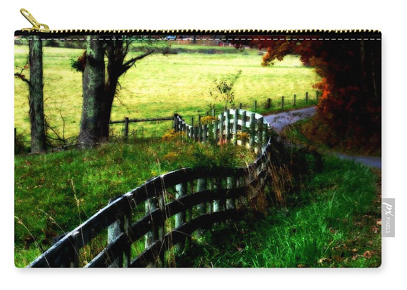 Fall Carry-all Pouch featuring the digital art Strolling Down The Old Country Road by Lj Lambert