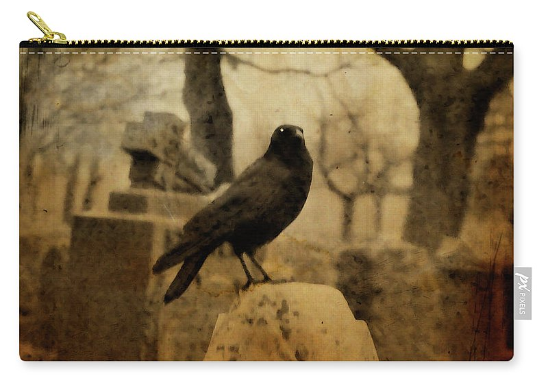 Raven Carry-all Pouch featuring the photograph Study Of The Surly Raven by Gothicrow Images