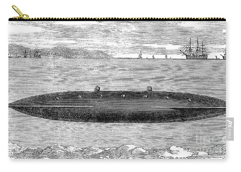 1852 Carry-all Pouch featuring the photograph Submarine, 1852 by Granger