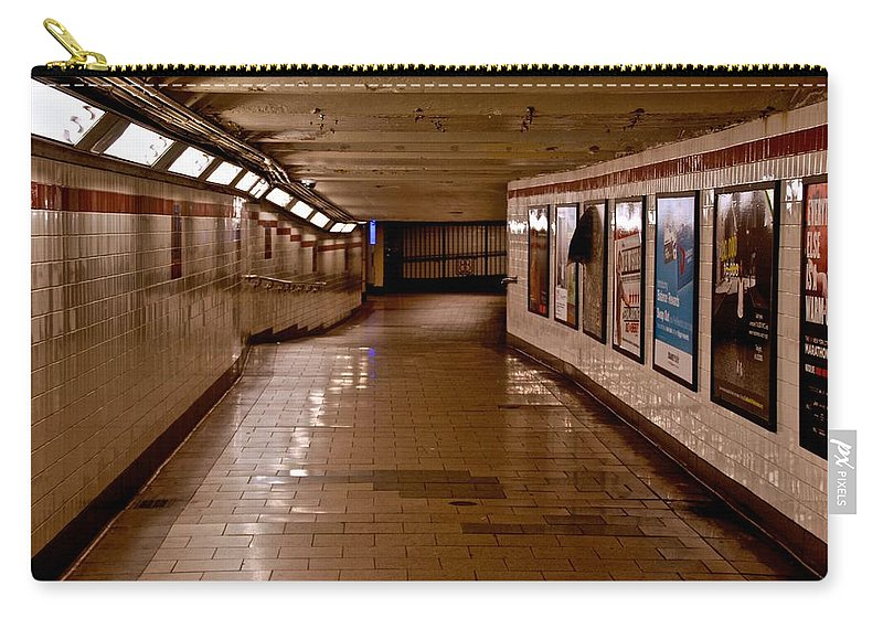 New York Carry-all Pouch featuring the photograph Subway Tunnel by Eric Tressler