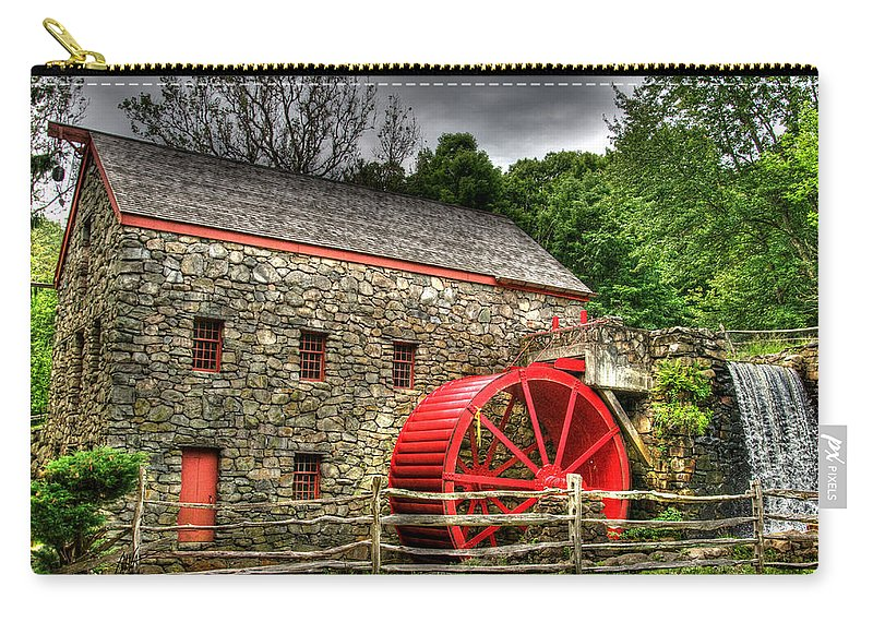 Sudbury Carry-all Pouch featuring the photograph Sudbury - Storm Looms At The Grist Mill by Mark Valentine