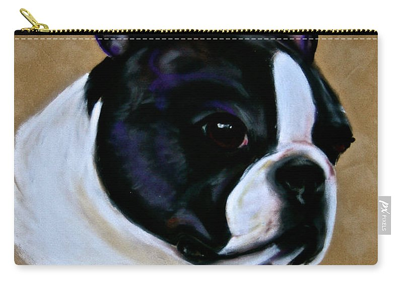 Dog Carry-all Pouch featuring the pastel Suede's Grandson by Susan Herber