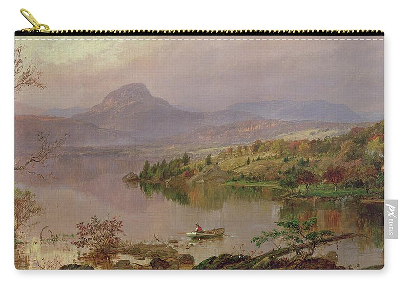 American Landscape; Boat; Mountain; Franklin County; West-central Maine; Spring; Rugged; Solitary; Hudson River School;sugarloaf From Wickham Lake Carry-all Pouch featuring the painting Sugarloaf From Wickham Lake by Jasper Francis Cropsey