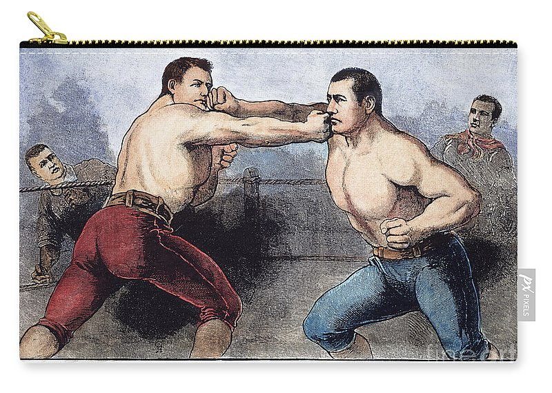 1889 Carry-all Pouch featuring the photograph Sullivan & Kilrain Fight by Granger