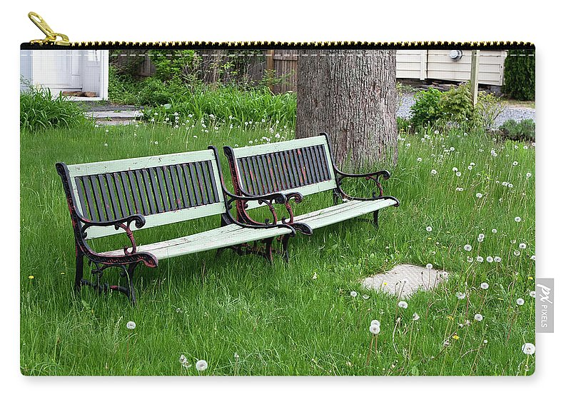 Benches Carry-all Pouch featuring the photograph Summer Bench And Dandelions by Lorraine Devon Wilke