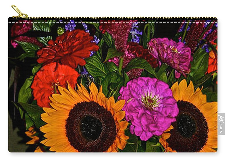Sunflowers Carry-all Pouch featuring the photograph Summer Flower Bouquet by Susan Herber