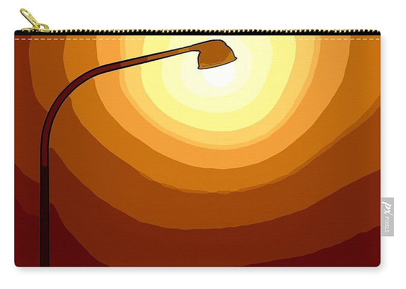 Laterne Lamp Lantern Lamp-post Light Shine Modern Oil Painting Darkness Shadow Energy Abstract Beam Ray Halo Flash Reflactor Simply Simplicity Red Orange Yellow White Plain  Field Color Colorful  Carry-all Pouch featuring the painting Sun-light by Steve K