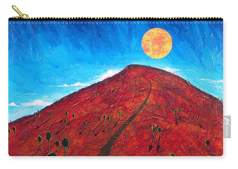 Landscape Carry-all Pouch featuring the painting Sun Over Red Hill by Rollin Kocsis