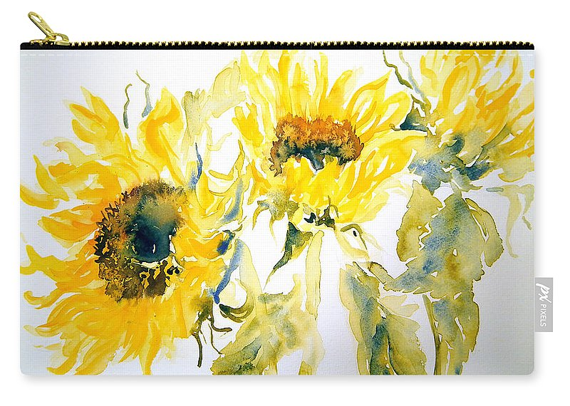Sunflowers Carry-all Pouch featuring the painting Sun Sisters by Ruth Harris