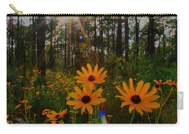 Sunburst Carry-all Pouch featuring the photograph Sunburst On Sunflowers by Barbara Bowen