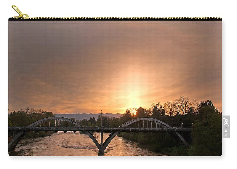 Caveman Bridge Carry-all Pouch featuring the photograph Sunburst Sunset Over Caveman Bridge by Mick Anderson