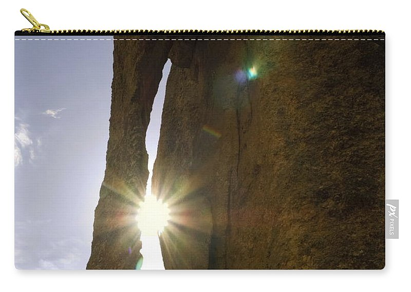 Sunburst Through Eye Of The Needle Granite Spires Carry-all Pouch featuring the photograph Sunburst Through Spire by Sally Weigand