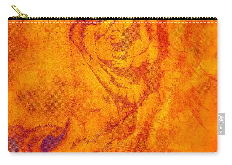 Tiger Photographs Carry-all Pouch featuring the digital art Sunburst Tiger On Fire by Mayhem Mediums