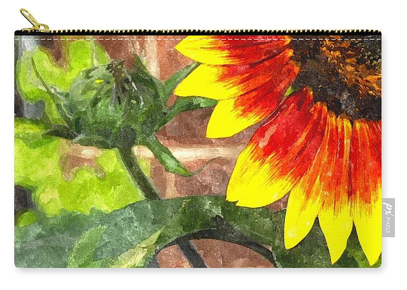 Sunflower Carry-all Pouch featuring the digital art Sunflower 2 Sf2wc by Jim Brage
