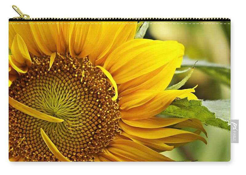 Yellow Flower Carry-all Pouch featuring the digital art Sunflower by Christy Leigh