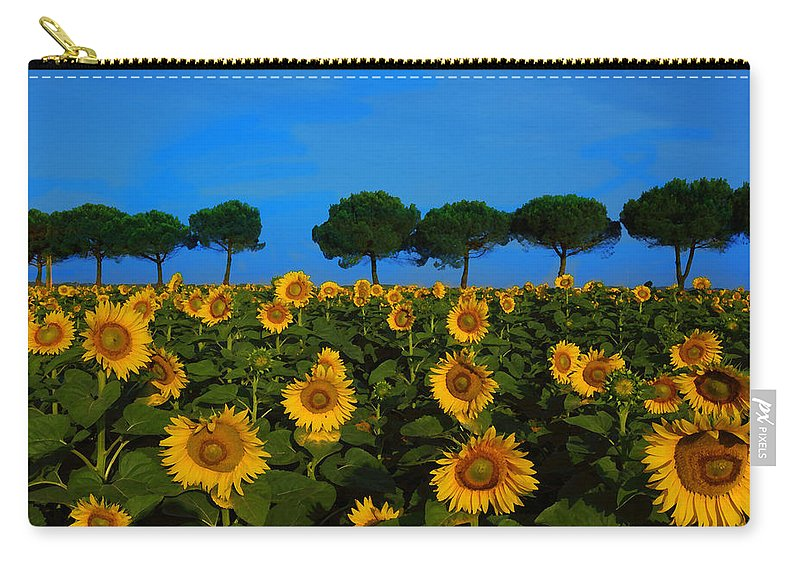 Sunflowers Carry-all Pouch featuring the photograph Sunflower Field by Susan Rovira