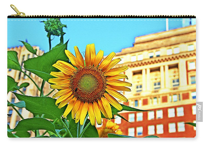 Sunflower City Flower Philadelphia Carry-all Pouch featuring the photograph Sunflower In The City by Alice Gipson