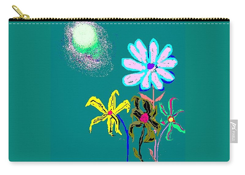 Sun And Flowergarden Carry-all Pouch featuring the digital art Sunflower Two by Enriquemontana Garcia
