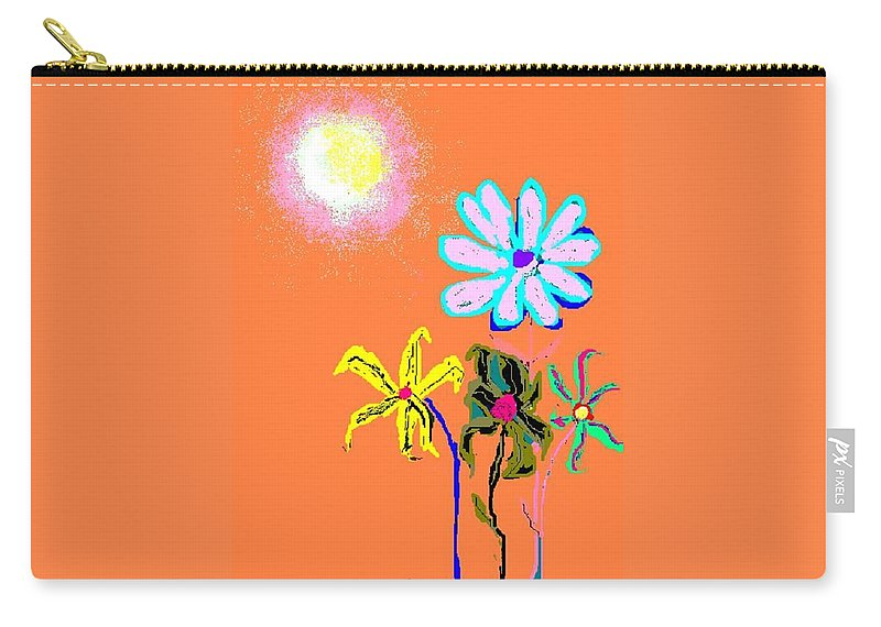 Sun And Garden Of Flowers Carry-all Pouch featuring the digital art Sunflowered 3 by Enriquemontana Garcia