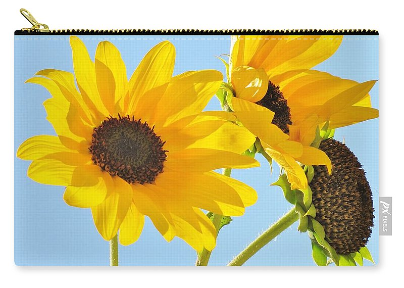 Sunflowers Carry-all Pouch featuring the photograph Sunflowers Sky by Michelle Cassella