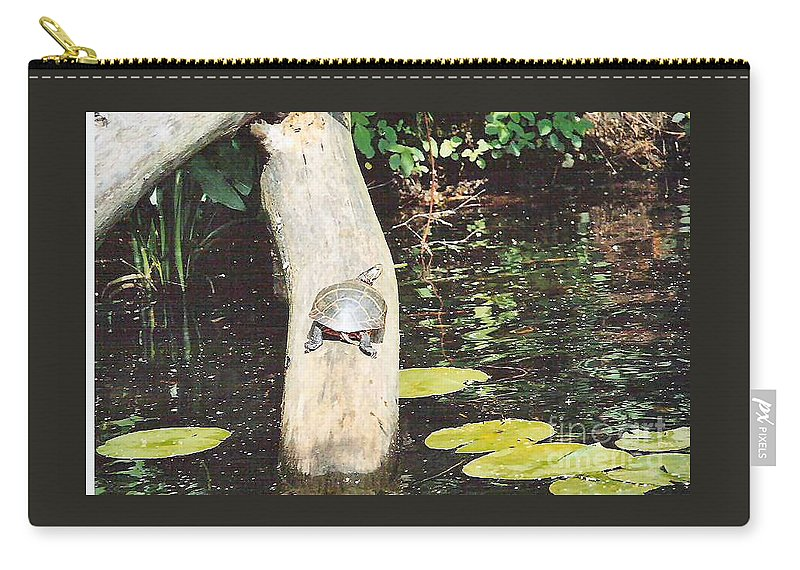 Turtle Carry-all Pouch featuring the photograph Sunning by Art Dingo