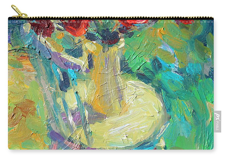 Sunny Impressionistic Painting Carry-all Pouch featuring the painting Sunny Impressionistic Rose Flowers Still Life Painting by Svetlana Novikova