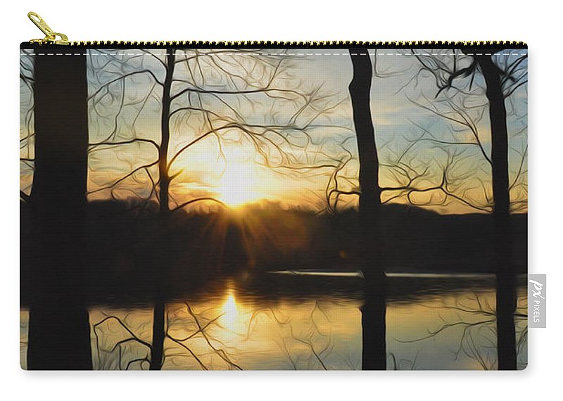 Sunrise Along The Delaware River Carry-all Pouch featuring the photograph Sunrise Along The Delaware River by Bill Cannon
