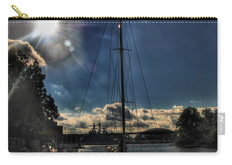 Carry-all Pouch featuring the photograph Sunrise Moon Dance by Michael Frank Jr