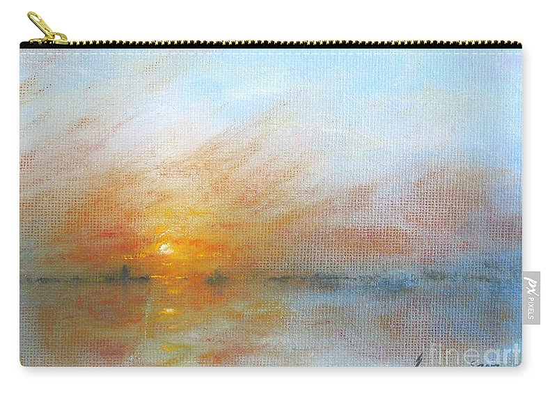 Sunrise Carry-all Pouch featuring the painting River Sunrise by Jerome Stumphauzer