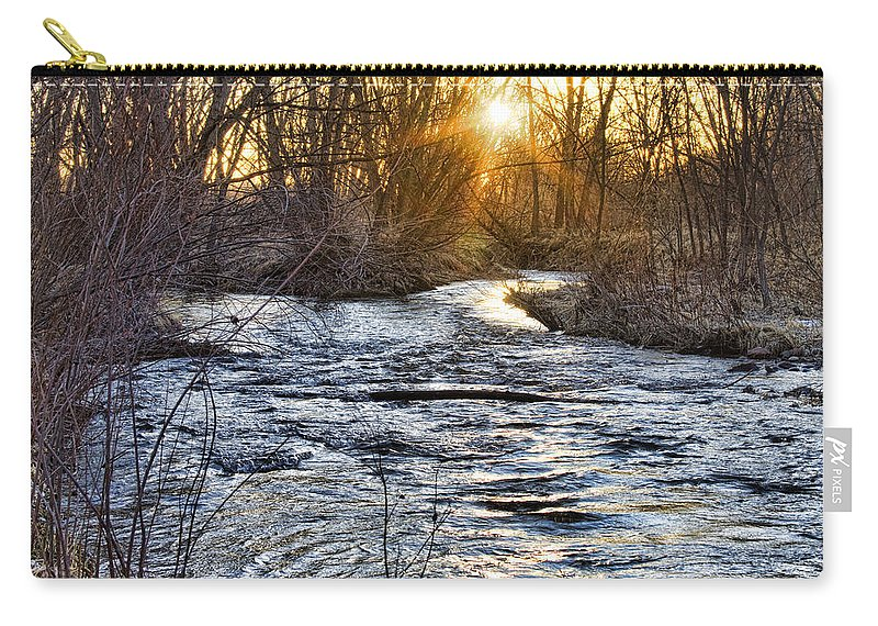 Early Carry-all Pouch featuring the photograph Sunrise On The St Vrain River by James BO Insogna