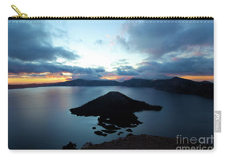 Crater Lake National Park Carry-all Pouch featuring the photograph Sunrise Over The Wizard by Adam Jewell