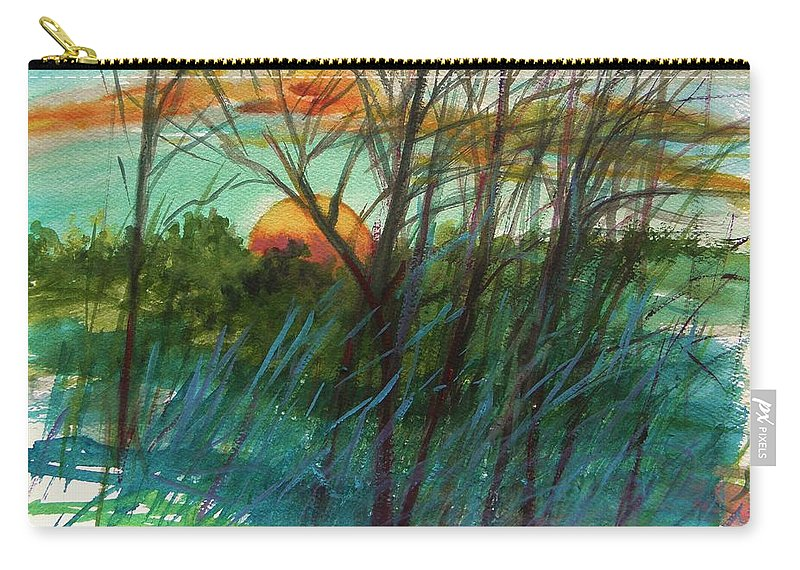 Sunset Carry-all Pouch featuring the painting Sun's Edge by John Williams