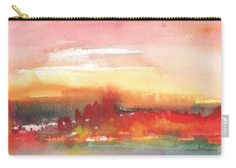 Landscapes Carry-all Pouch featuring the painting Sunset 42 by Miki De Goodaboom
