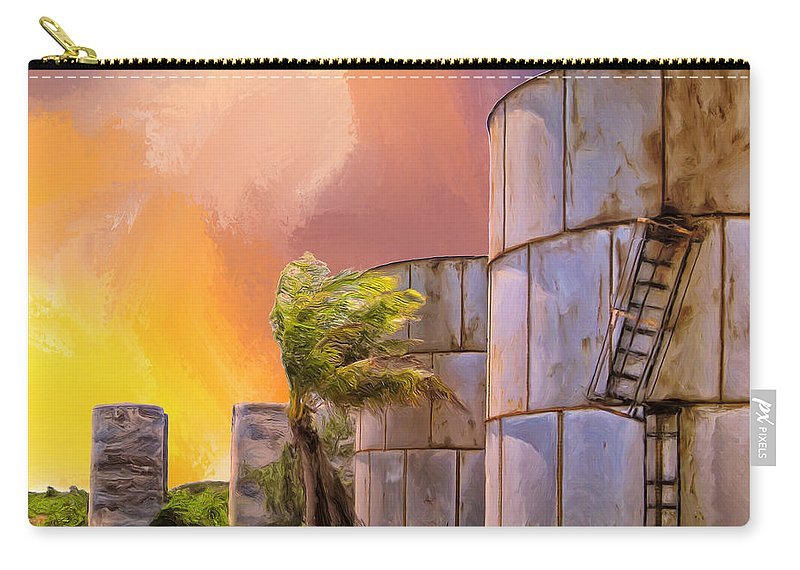 Tropics Carry-all Pouch featuring the painting Sunset And Abandoned Oil Tanks by Dominic Piperata