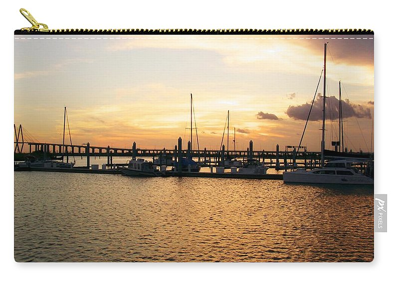 Harbor At Sunset Carry-all Pouch featuring the photograph Sunset Bay by Robert Brown