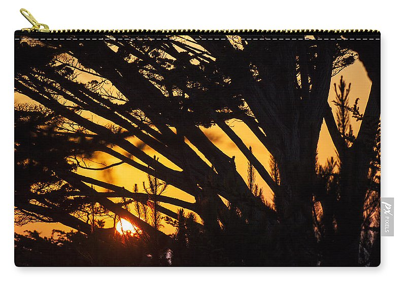 Sunset Carry-all Pouch featuring the photograph Sunset In The Trees by Garry Gay
