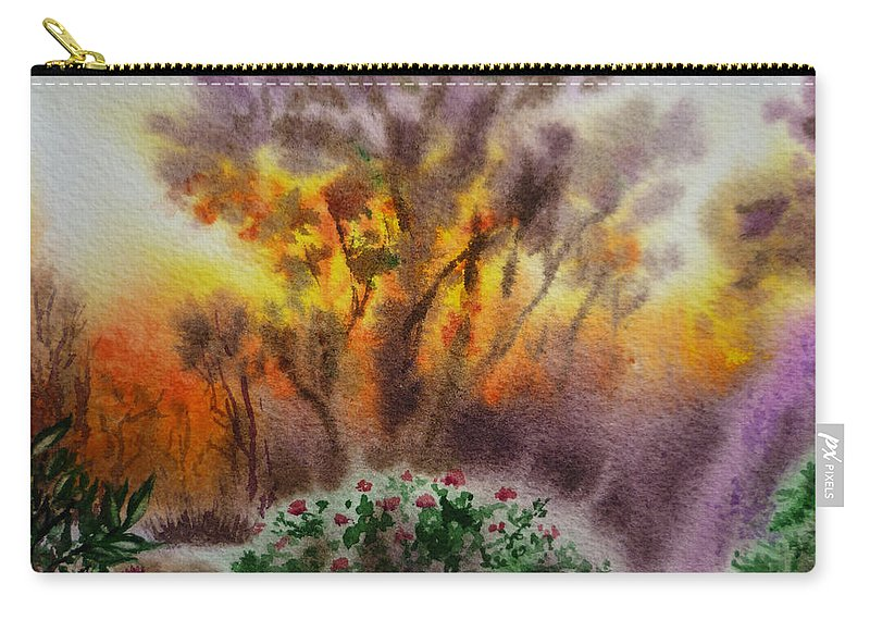 Sunset Carry-all Pouch featuring the painting Sunset by Irina Sztukowski